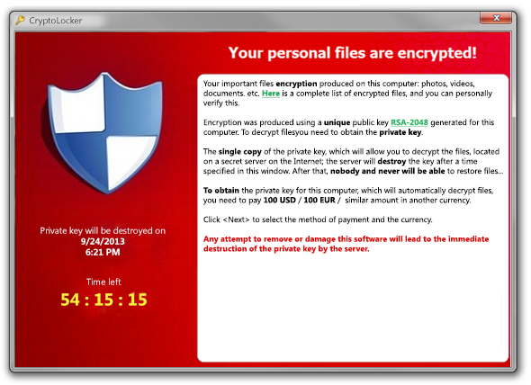Cryptolocker Window